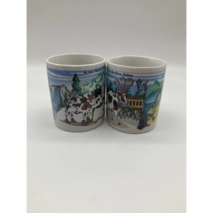 Vintage Cow Coffee Mugs Road Trippin Cow